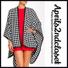 "Blanket Wrap Coat Poncho Cape S, M, L, XL RETAIL PRICE: $88  NEW WITH TAGS  Blanket Wrap Poncho Long Cardigan Cape * An incredibly soft knit construction  * Allover houndstooth plaid print.  * Cozy fabric & a draped loose knit fit.  * About 30""-41"" long, hi Lo hem; One size fits most. * Open front & faux black leather trim Fabric: 100% acrylic Trim: Faux leather Color: Black & White Item:  No Trades ✅ Offers Considered*/Bundle Discounts✅ *Please use the 'offer' button to submit an offer…"