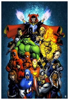 Marvel Origins by Chris Stevens, colours by Simon Gough. Okay naming time: Doctor Strange, the Fantastic Four, Punisher, Hulk, Spiderman, Deadpool, Ironman, Wolverine, Daredevil, Cyclops, Rogue (I think), Black widow, Captain America, Thor, and Storm  :D nailed it