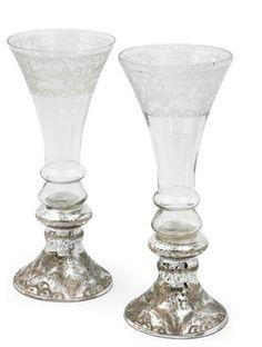 Mercury and Glass Flutes Set of 2 farmhouse wine glasses