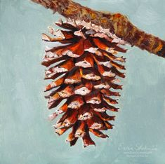 Pine Cone Painting  Still Life Print by PetPortraitsbyNC on Etsy, $22.50