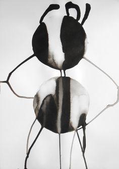 A3 Zen Modern Abstract Black & White Original Ink by Manjuzaka