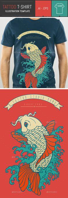 Carp Tattoo Vector Illustration T-Shirt Template - Designs T-Shirts