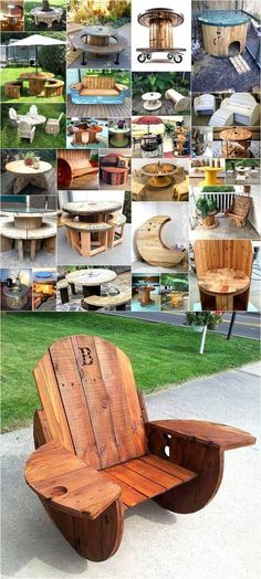 Creative Use of Recycled Pallet Cable Spools These are actually reels in which fiber or electric wires are winded and transported. Here we have several ideas of making sofas, chairs, patio furniture and coffee tables with pallet cable spools. Diy Cable Spool Table, Wooden Cable Spools, Cable Spool Ideas, Cable Reel Ideas For Kids, 1001 Palettes, Wood Projects, Woodworking Projects, Spool Chair, Diy Recycling