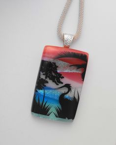 New to GlassCat on Etsy: Dichroic Pendant Beach Jewelry Herons on Dichroic Glass Landscape Pendant Scenic Glass Pendant Fused Glass Jewelry (40.00 USD)
