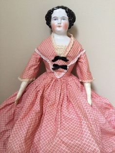 Antique 1800s German Flat Top China Head Doll 20in tall...............love her dress