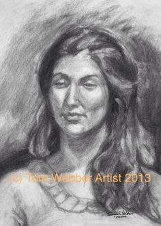 Vine charcoal portrait of a young woman. Live model.