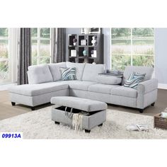Charlton Home Sciortino Sectional with Ottoman Upholstery Colour: Light Grey, Orientation: Left Hand Facing Corner Sectional, Sleeper Sectional, Small Sectional, Mid Century Sofa, Formal Living Rooms, Toss Pillows, Upholstery, Ottoman, Grey And White