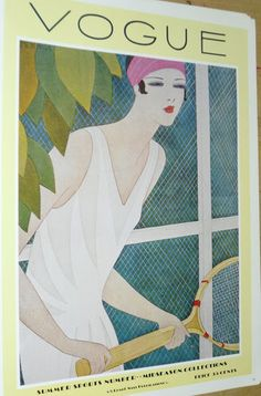 RARE VINTAGE Tennis Player VOGUE Art Deco Poster Old Magazine Cover Fashion 1927