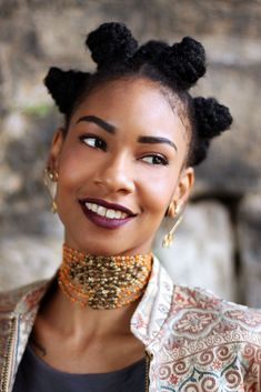 "That choker though...and the bantu knots!   yungthoracicsurgeon: "" fashizblackdiary: "" Beards By Aree. "" Holy shit she's beautiful! """