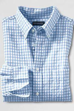 Men's Long Sleeve Gingham Linen Blend Shirt from Lands' End