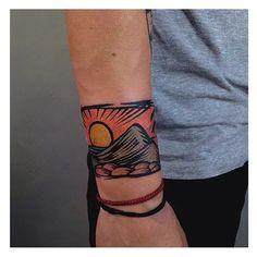 Colourful landscape tattoo on the wrist Wörter Tattoos, Anklet Tattoos, Word Tattoos, Body Art Tattoos, Tattoos For Guys, Sleeve Tattoos, Turtle Tattoos, Tribal Tattoos, Armband Tattoo