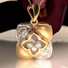 14k Yellow gold Natural VS round Diamond movable Pendant Charm Necklace set .40 by crystalanchor on Etsy