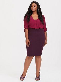 1375390e7ec6b Ponte Slim Fix Pencil Skirt Burgundy Plus Size Pencil Skirt