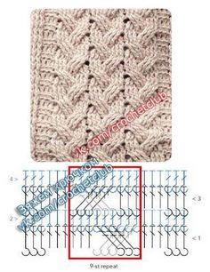 Crochet Shawl Diagram, Crochet Stitches Chart, Crochet Motifs, Crochet Square Patterns, Crochet Blanket Patterns, Diy Crochet, Stitch Patterns, Knitting Patterns, Crochet Cable Stitch