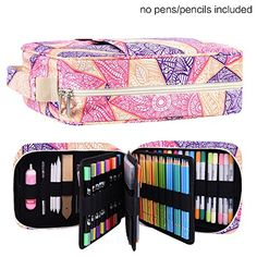 202 Colored Pencils Pencil Case - 136 Color Gel Pens Pen Bag or Marker Organizer - Universal Artist Use Supply Zippered Large Capacity Slot Super Big Professional Storage qianshan Fresh Colored Pencil Case, Colored Pencils, Pen And Watercolor, Watercolor Pencils, Adult Coloring Books Amazon, Big Pen, Pencil Organizer, Cute Stationary, Gifts For An Artist