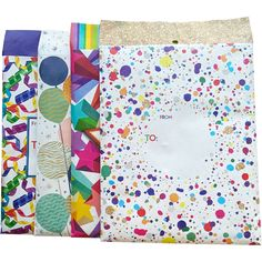 Present Paper Store | Celebration Medium Decorative Padded Mailing Envelopes, Red, orange, yellow, green, blue, purple, pink, gold, black by PresentPaperStore on Etsy