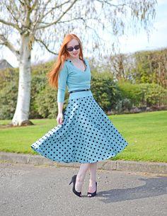 polka dot dress with matching sweater