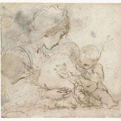 Maria met kind en Johannes de Doper, Guercino, 1601 - 1616 - Rijksmuseum