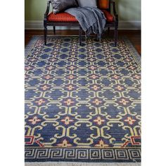 """Bashian Rugs Artifact Hand-Knotted Navy Area Rug Rug Size: Runner 2'6"""" x 8'"""