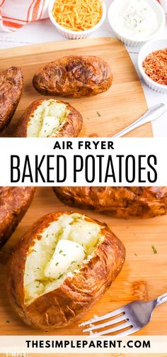 Learn how to make an air fryer baked potato with CRISPY SKIN! The flavor will blow your mind! Top with your favorite baked potato toppings Baked Potato Toppings, Air Fryer Baked Potato, Baked Potato Recipes, Air Fryer Recipes, Food To Make, Potatoes, Vegan, Meals, Baking