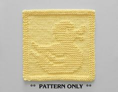 RUBBER DUCK Knitting Pattern, Baby Wash Cloth Knit Pattern, Nursery, Baby Blanket Pattern Square, Knitted Duck Pattern, PDF Instant Download by AuntSusansCloset, $4.00 USD