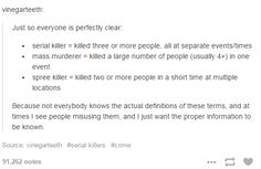 This is actually informative to me<<<<I'm not a murder!! I'm just a writer who's writing ABOUT murder. There's a difference