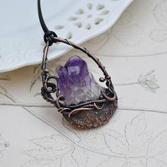 Ametyst electroformed necklace pendant necklace Healing