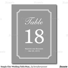Simply Chic Wedding Table Number Card Postcard