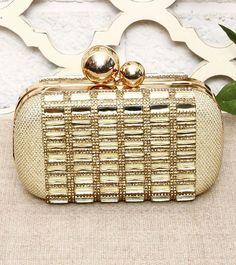 Golden Stone Embellished Clutch