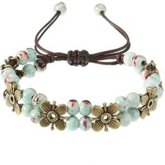 's Ethnic Bracelet Flower Ceramics Beads Retro Rope Bracelet (19 PEN) ❤ liked on Polyvore featuring jewelry, bracelets, adjustable bangle, beaded bangles, flower jewellery, red bangles and blue jewellery