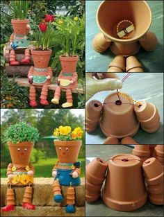DIY Clay Pot Flower People How To Make Clay Pot Flower People theownerbuilderne… Are you looking for something to do with the kids? Get them interested in gardening by making these clay pot flower people! These DIY Clay Pot Planter people are so adorabl Flower Pot Art, Clay Flower Pots, Flower Pot Crafts, Stacked Flower Pots, Clay Pot Projects, Clay Pot Crafts, Diy Clay, Diy Projects For Men, Outdoor Projects