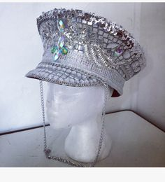 Silver disco embellished sequin bling military cap hat. Festival carnival burning man bestival secret garden party. by PicaPicaFeathers on Etsy https://www.etsy.com/uk/listing/450683382/silver-disco-embellished-sequin-bling
