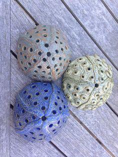 Sea urchin lanterns #seainspiredsculpturalceramics.www.sucloudceramics.com
