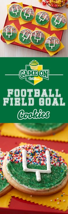 Make these fun football field goal cookies and score for your home team as you all watch the big game! These cookies are quick and easy to make using your favorite roll out cookie dough and some colorful Wilton Sprinkles. These goal post cookies are great Football Desserts, Football Party Decorations, Football Treats, Football Parties, Cheer Treats, Football Decor, Game Day Snacks, Game Day Food, Party Snacks