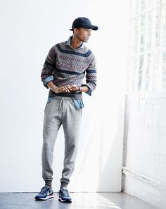 NOV Style Guide: J.Crew men's Fair Isle sweater in grey, slim indigo Japanese chambray shirt, slim classic sweatpant, baseball cap and Nike® Air Pegasus sneakers. Mens Fashion Sweaters, Sweater Fashion, Men's Fashion, Slimming World, Winter Outfits Men, J Crew Men, Skinny, Stylish Men, Style Guides