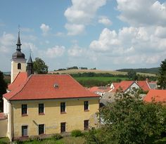 The church of The Ascension of Our Lady and the vicarage in Louňovice pod Blaníkem (Central Bohemia), Czechia