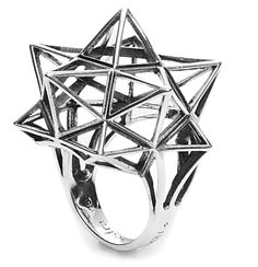 """Framework Star Silver Ring"" Verahedra Series: A series of complex, interlocking geometries reminiscent of Euclidean geometries and ancient architecture from the Egyptian, Mayan and Sumerian temples.  http://johnbrevard.com/framework-star-ring-4309"