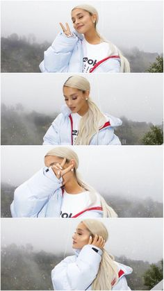 Ariana Grande at photoshoot rocking blonde hair and oversized jacket. Ariana Grande at photoshoot ro Ariana Grande Fotos, Ariana Grande Wallpapers, Ariana Grande Pictures, Ariana Grande Hair, Ariana Grande Lyrics, Ariana Tour, Poses Photo, Cat Valentine, Thank U
