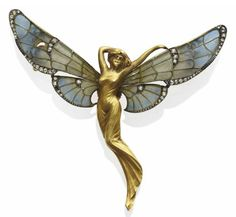 AN ART NOUVEAU ENAMEL, DIAMOND AND GOLD BROOCH, BY GASTON LAFITTE, circa 1905 discovering I love Art Nouveay jewelry