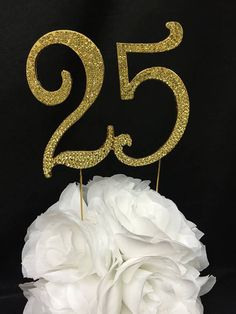 Large Gold or Silver 25th Birthday or Anniversary Number Cake Topper