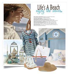 """Life's a beach"" by danielle-broekhuizen ❤ liked on Polyvore featuring Laura Manara, Current/Elliott, Lilly Pulitzer, GUESS, Tildon, Balmain, Summer, beach and kaftan"