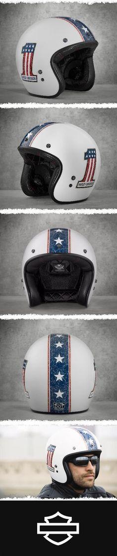 Go retro or go home. | Harley-Davidson Red White & Blue #1 3/4 Helmet #harleydavidsonbreakout #harleydavidsonbreakoutwhite