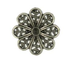 Openwork Clematis Flowers Nickel Silver Metal Shank Buttons - 17mm - 11/16 inch