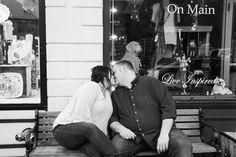 Main Street Franklin Tennessee Engagement Session. Nashville Wedding Photographer. Jon Reindl Photography #franklin #engagement #city #kiss #bench #urban