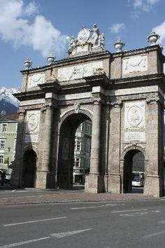 triumphal arch, Innsbruck.my hotel view