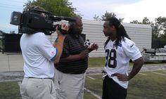 from Panthers Carolina Panthers #Panthers Insider Mike Craft interviewing S Robert Lester after practice.