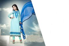 USD 63.97 Light Blue Georgette Casual Wear Churidar Suit 42614
