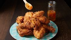 Who doesn't love fried chicken? Pati spices up classic Southern Fried Chicken with a chipotle buttermilk marinade, a chile de arbol and guajillo marinade, an. Mexican Atole Recipe, Mexican Shrimp Recipes, Fried Chicken Recipes, Spicy Recipes, Gourmet Recipes, Turkey Recipes, Keto Recipes, Vegetarian Recipes, Dessert Recipes
