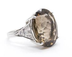 20.99ctw 14k Smoky Quartz and Diamond Ring in White and Yellow Gold | Fine Jewelry | Handmade | Vintage Style