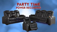 Don't forget your snacks and drinks for a night of binge watching your favorite TV show on our Party Time Reclining Sofa! It's got all the bells and whistles! Living Room Sofa, Living Room Decor, Power Recliners, Reclining Sofa, Room Interior, Favorite Tv Shows, Living Room Designs, Party Time, Home And Family